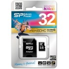 microSDHC Silicon Power 32Gb class 10 (с адаптером на SD)