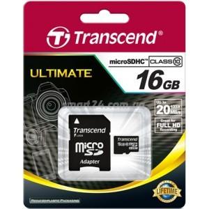 microSDHC Transcend 16Gb class 10 (с адапрером на SD)
